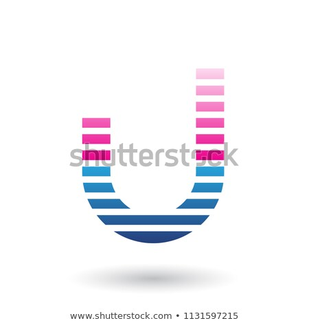 Magenta and Blue Letter U Icon with Horizontal Thin Stripes Vect Stock photo © cidepix
