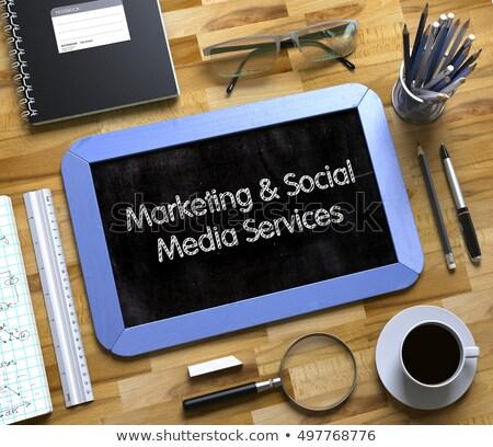 marketing · doodle · illustratie · Blauw · schoolbord · tekstballon - stockfoto © tashatuvango