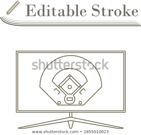 Baseball tv traduzione icona sottile line Foto d'archivio © angelp