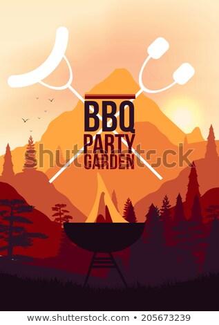 BBQ buli képeslap barbecue poszter kézzel írott Stock fotó © Anna_leni