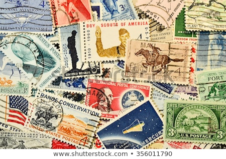 collection of red old postage stamps stock photo © lienkie