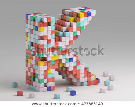 white voxel cubes font letter k 3d stock photo © djmilic