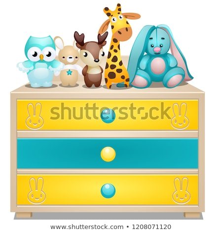 Childrens chest of drawers with plush toys isolated on white background. Vector cartoon close-up ill Stock photo © Lady-Luck