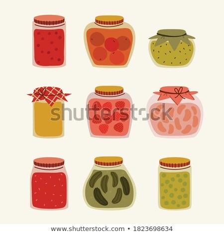 Домашняя кухня малиной стекла иллюстрация банку Jam Сток-фото © robuart