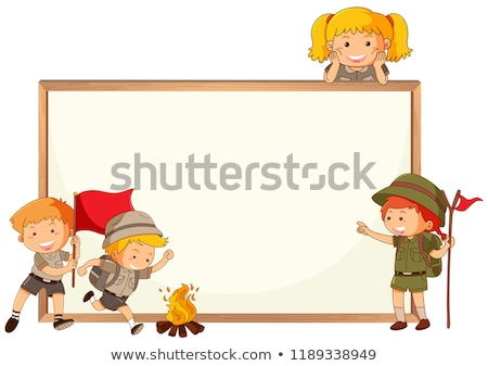 Boy and girl scout and whiteboard frame Stock photo © colematt
