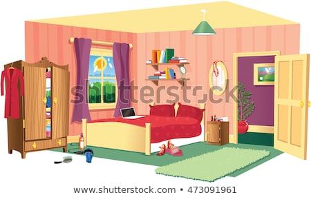 Yatak odası sahne yatak ahşap klozet örnek Stok fotoğraf © colematt