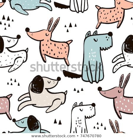 Cute dog seamless pattern cartoon design vector. Stock photo © yopixart