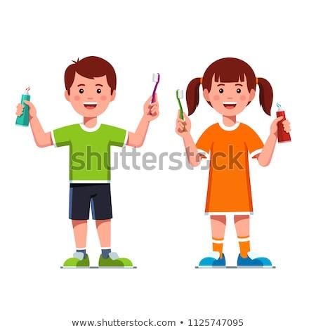 Nina cepillo de dientes diente Cartoon ilustración Foto stock © bennerdesign