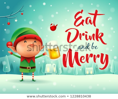 Merry Christmas! Little elf with beer in Christmas snow scene wi Stock photo © ori-artiste