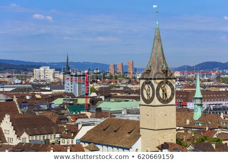 Zurich church clock tower view Stock photo © xbrchx