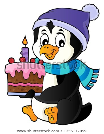 Photo stock: Pingouin · gâteau · image · art · oiseau