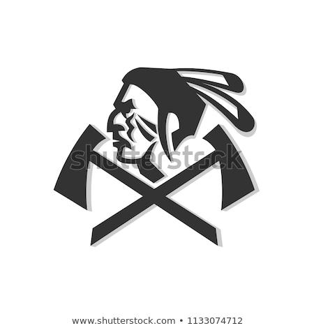 Native American Warrior Crossed Hatchet Mascot Stock photo © patrimonio