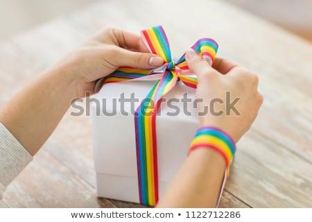 Közelkép ajándék doboz homoszexuális tudatosság szalag homoszexuális Stock fotó © dolgachov