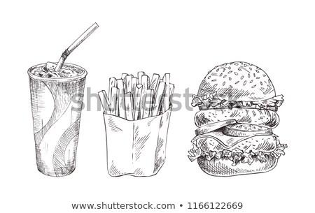 Dessinés à la main Cola papier tasse vecteur monochrome Photo stock © robuart