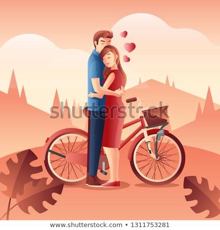 couple riding bike together vector illustration stock photo © robuart