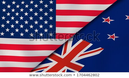 Two waving flags of United States and new zealand Stock photo © MikhailMishchenko
