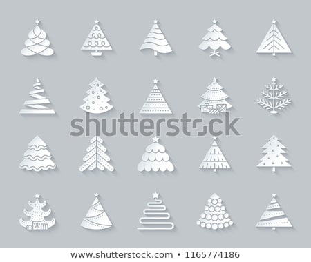 Merry Christmas Paper Cut Evergreen Tree and Gifts Stock photo © robuart