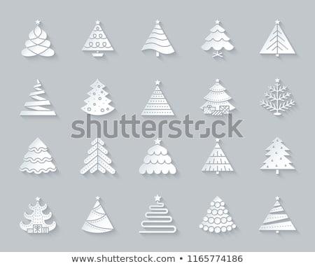 Neşeli Noel kâğıt kesmek yaprak dökmeyen ağaç Stok fotoğraf © robuart