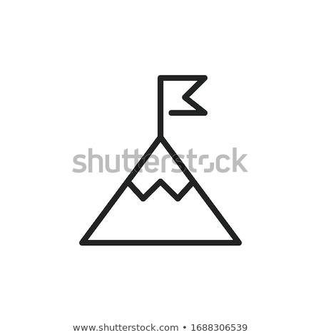 Eenvoudige berg icon vector teken symbool Stockfoto © blaskorizov
