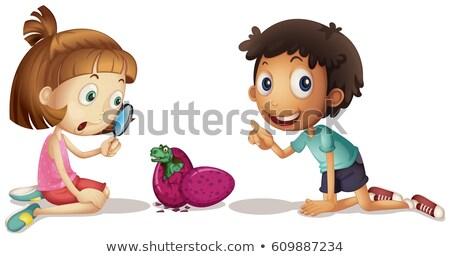 2 子供 見える 赤ちゃん 恐竜 卵 ストックフォト © colematt