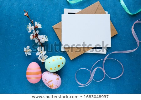 Stock photo: Pussy willow bouquet. Easter greeting card