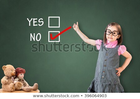 Girl and diagram showing flowchart on board Stock photo © colematt