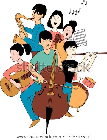 Ninos jugar instrumentos musicales cantar vector aislado Foto stock © pikepicture