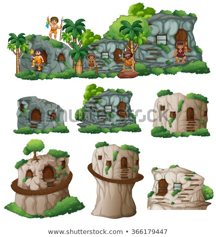 Caveman and house Stock photo © colematt