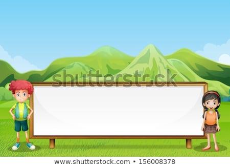 Children on empty signboard Stock photo © colematt