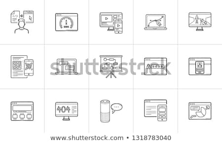 Stock photo: Mobile phone with computer syncronization hand drawn outline doodle icon.