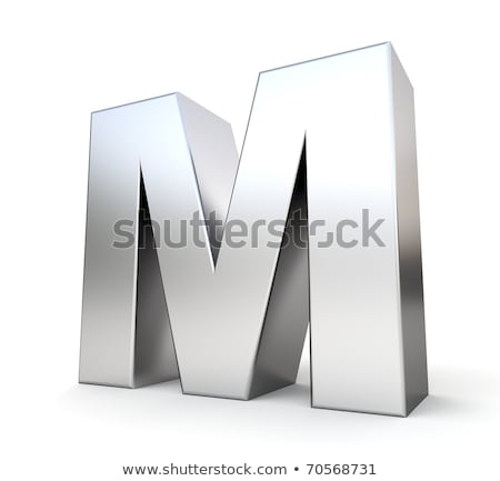 Chrome font with colorful reflections Letter M 3D Stock photo © djmilic