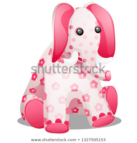 Soft toy in the form of an elephant with a print in the form of flowers isolated on white background Stock photo © Lady-Luck