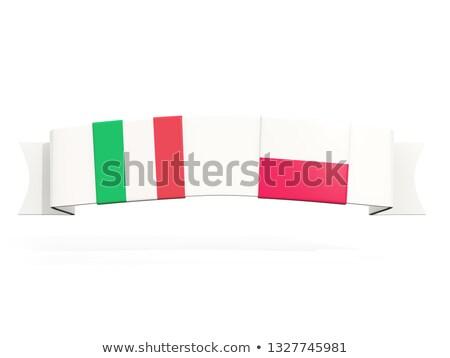 Photo stock: Bannière · deux · carré · drapeaux · Italie · Pologne
