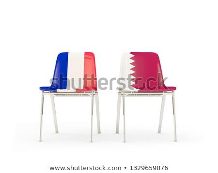 Dwa krzesła flagi Francja Katar odizolowany Zdjęcia stock © MikhailMishchenko