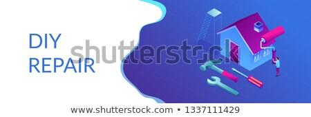 Fai da te riparazione isometrica 3D banner Foto d'archivio © RAStudio