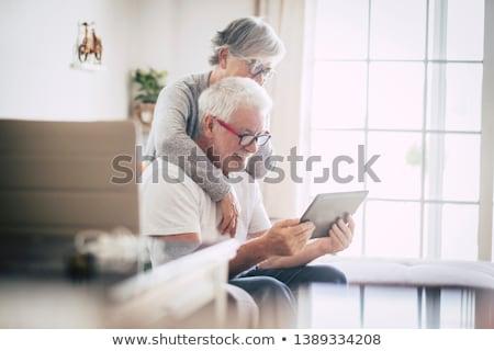 Pár bent fiatal pér érzéki barna hajú fekete fehérnemű Stock fotó © amok