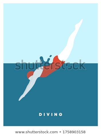 Summer Pool Swimmers Poster Vector Illustration Stockfoto © robuart