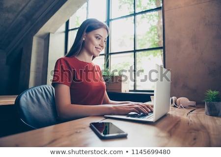 Iş arama kadın bakıyor çalışmak Internet vektör Stok fotoğraf © Genestro