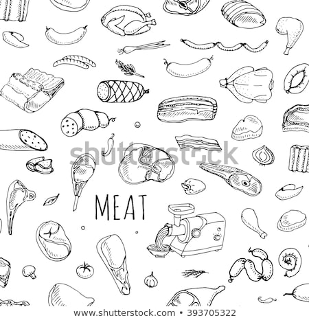 Different kinds of meat collection pattern Stock photo © netkov1