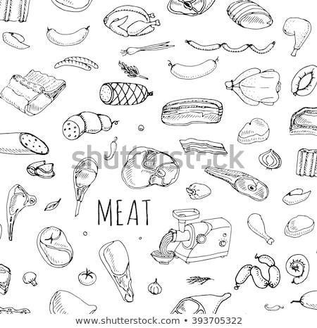 ベーコン · ステーキ · 骨 · 孤立した · 白 · 新鮮な - ストックフォト © netkov1
