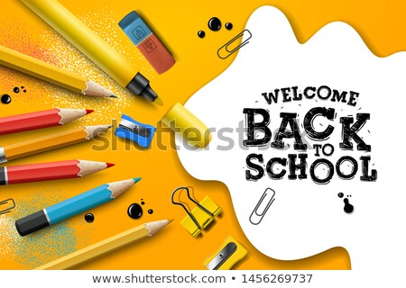 back to school sale design with pencils and typography lettering vector school illustration for pos stock photo © ikopylov