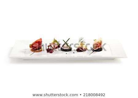 Finom előétel tányérok előkészített étterem konyhapult Stock fotó © grafvision