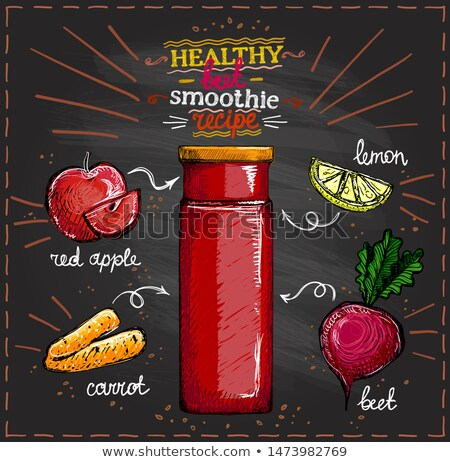 Poster with Beet and Carrot, Vegetables Vector Stock photo © robuart