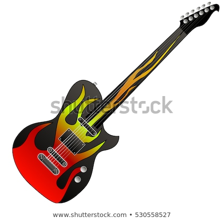 Black with Yellow Flame Electric Guitar on White Stock photo © robuart