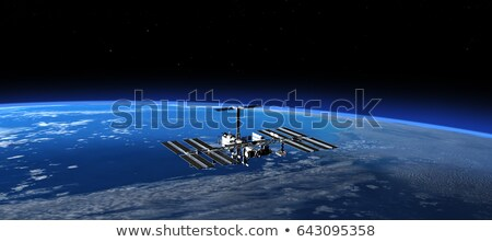 Stock photo: International Space Station over Europe.