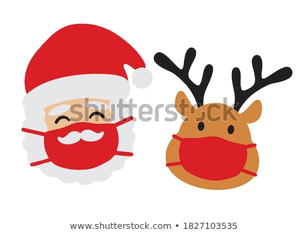 Christmas Reindeer Cartoon Deer Wearing Santa Hat Stock photo © Krisdog
