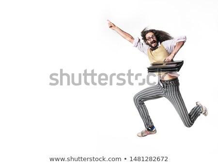 Saltando nerd pasta couro homem Foto stock © majdansky