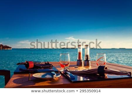 ресторан · пляж · Мальдивы · Тропический · остров · дерево · морем - Сток-фото © borisb17