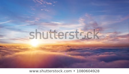 Stock photo: Airplane in the sky and cloud at sunrise