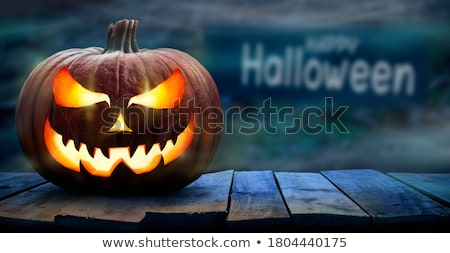 Halloween with Pumpkins and Dark Forest Stock photo © mythja
